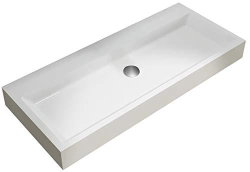 Opzet waskom of hangende wastafel PB2144 in massief oppervlak (Solid Stone) - mat wit - 100 x 42 x 10 cm