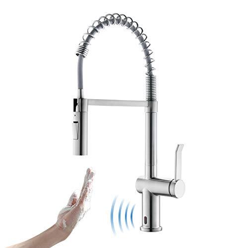 APPASO Touchless Sensor Wasserhahn Küche, Küchenarmatur mit Spiralfeder, 360° Schwenkbare Spültischarmatur mit 2 Strahlarten, ausziehbare Mischbatterie - Hochdruck | Gebürstet