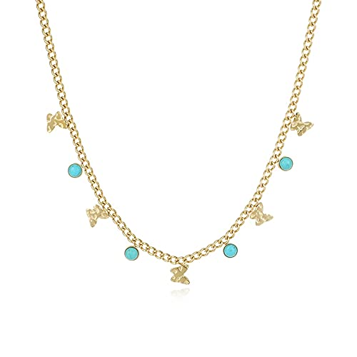 collar Collar De Cadenas De Acero Inoxidable De 14 K Para Mujer, Gargantilla Con Colgante De Mariposa Turquesa Y Declaración, Regalo De Joyería