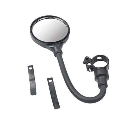 Sankuai 1 UNID MTB Retrovisor Espejo Flexible Bicicleta Seguridad Redonda Manillar Reemplazo de reemplazo Conveniente y Simple (Color : Negro)
