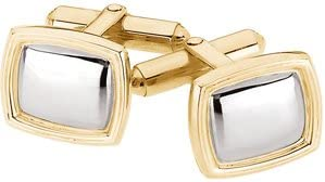 Stylish Gents 14KT Two-Tone Gold Cuff Links 14 X 16 Millimeters each