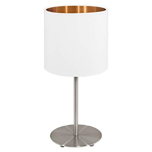 EGLO Tischlampe Pasteri, 1 flammige Textil Tischleuchte, Nachttischleuchte aus Stahl und Stoff, Farbe: Nickel matt, weiß, kupfer, Fassung: E27, inkl. Schalter