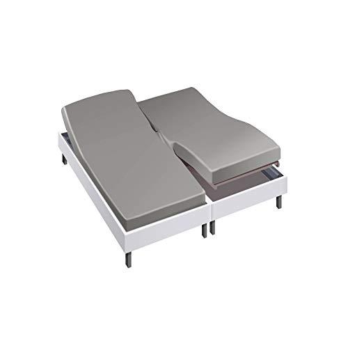 Drap House pour lit articulé 2x80x200 en Percale Souris - Couleur: Souris