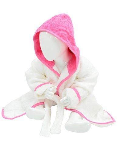 A&R babybadjas met naam en grappig boerderijmotief, geborduurd, confectiemaat 68/74, kleuren A & R baby wit-roze