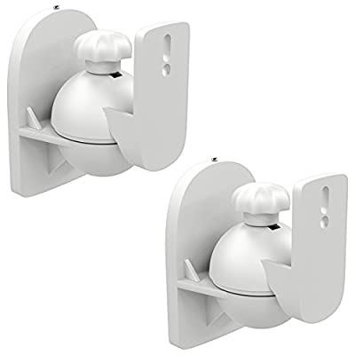 deleyCON 2x Universal Speaker Wall Mounts Loudspeaker Wall Mountings Tilt + Swivel & up to 3.5 Kg Load Weight - Ceiling Mounting + Wall Fitting - White by deleyCON