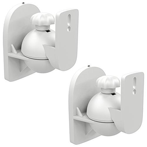 deleyCON 2x Supporti Staffe Universali per Altoparlanti e Casse Acustiche Girevoli + Inclinabili, Peso fino a 3,5kg Montaggio a Soffitto + Montaggio a Parete - Bianco