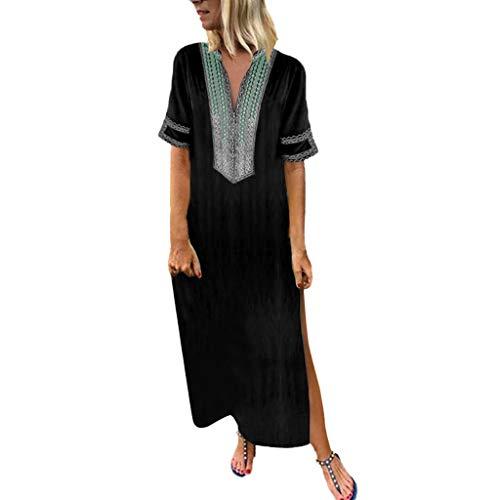 Sommerkleider Damen Langes Kleider Große Größen,Frauen Vintage Gedruckt Langarm V-Ausschnitt Maxi-Kleid Saum Baggy Kaftan Langes Kleid Maxikleid Strandkleider Tunika Kleid Etuikleid