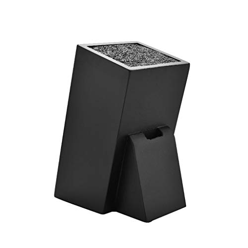 Wooden Kitchen Knife Block Space Saver Storage Knife Organizer, Black Knife Holder Case without Knives for Counter Top 1115