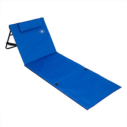Deuba Set de 2 alfombras de Playa acolchonadas con Respaldo Ajustable y cojín Azul con Funda extraíble