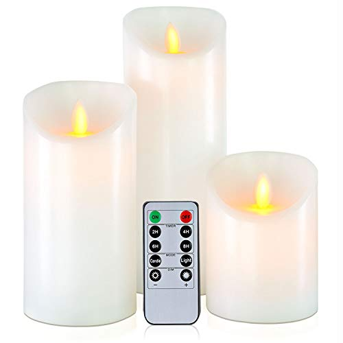 5plots 4'6'8' Pure White Wax Flameless Candles -Flickering LED Candles - Battery Operated with Remote and Timer - Moving Wick Dancing Flame - Set of 3