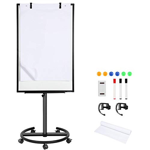 Magnetic Rolling Whiteboard Dry-Erase White-Board - 40 x 26 Inches Portable Mobile Whiteboard Flip Chart Easel Stand with 25 Sheets Paper Pad