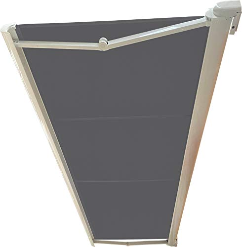 Store BANNE Coffre Integral MOTORISE RAL Blanc 2,7 X 2 Toile Dickson® Ardoise