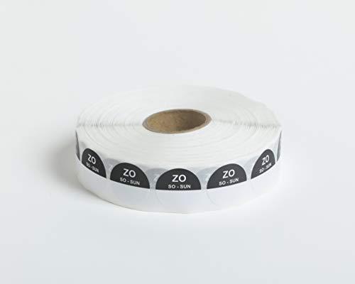 Set van 5 Rollen - 2000 HACCP Labels op 1 rol - 10.000 in totaal - zondag - zwart - ronde dagstickers 19 mm, schrijfbaar. Plakt op elke ondergrond, voor etenswaren koelkast en vriezer, houdbaarheidsdatum,THT
