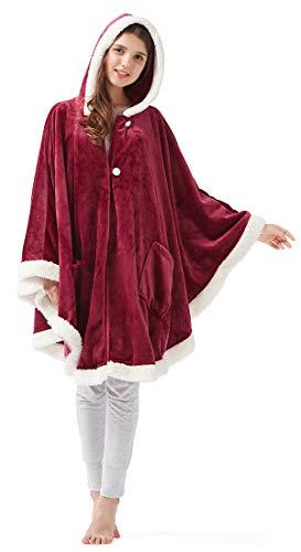 SCM Abrigo de ángel con Ribete bereber - Capa de Terciopelo súper Suave y acogedora - Capa de Capa de mantón de Invierno de Piel sintética de Lujo Abrigo - Manta de Poncho con Bolsillos de Mangas