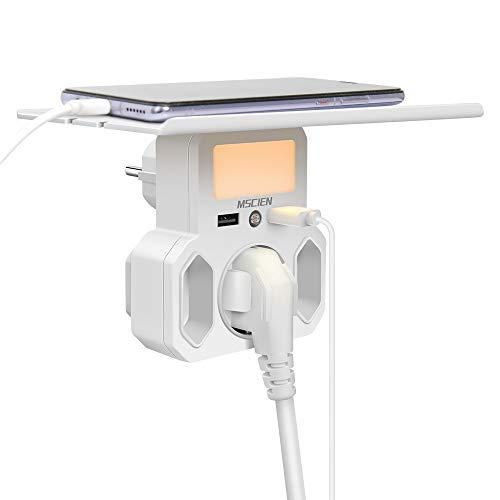 USB Steckdose Regal mit Nachtlicht Dämmerungssensor,3 Fach Mehrfachstecker (2 Eurosteckdose und 1 Schuko),mit Wandregal Kompatibel für iPhone, Smartphone,Laptop