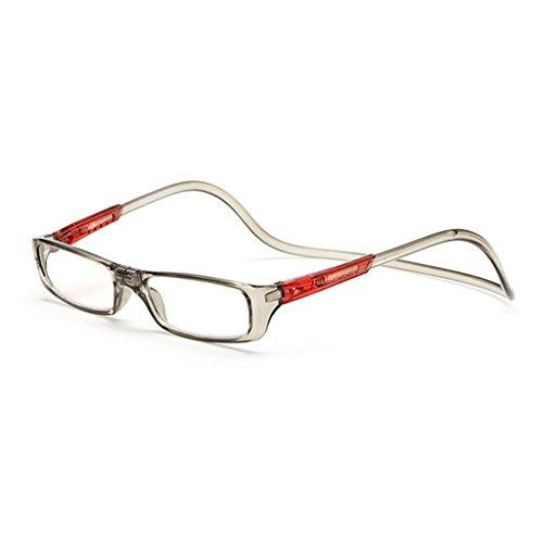 Kalttoy Verbesserte Unisex Magnet Lesebrille Männer Frauen Bunte Verstellbare Hängende Hals Magnetische Vorder presbyopie brille (Grau, 2.50)