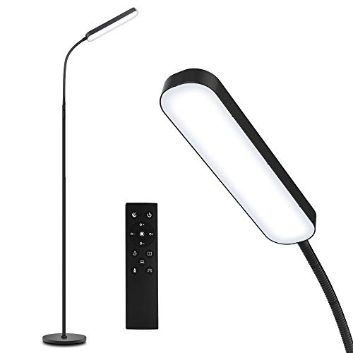 Floor Lamp -WioMio Led Floor Lamp with Remote and Touch Control for Stepless Dimmer & Temperatures, Harmless Light for Eye-caring, Adjustable Gooseneck Standing Lamp for Living Room & Bedroom.