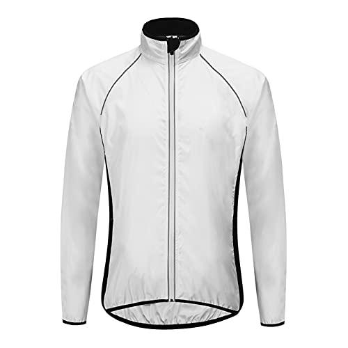 SFITVE Fahrradjacke,Wasserabweisend Winddicht Herren Damen Jacken,Leichte Atmungsaktiv Motorradjacke Fahrrad,Reflektierend Radjacke Atmungsaktiv Laufjacke(Size:XXX-Large,Color:Weiß)