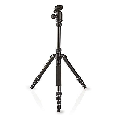 Nedis - Statief - Tripod - Foto- en videocamera's - Max. 3 kg - 145 cm - Premium - Afneembare eenpoot - Omkeerbare middenbalk - Compact formaat - Panoramisch hoofd - Zwart