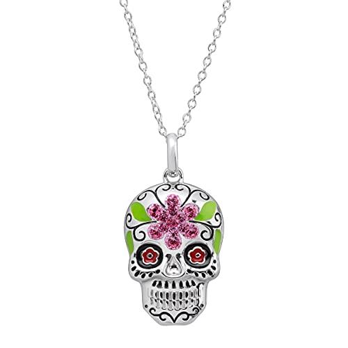 Crystaluxe Flower Sugar Skull Pendant with Swarovski Crystals in Sterling Silver, 16+2'