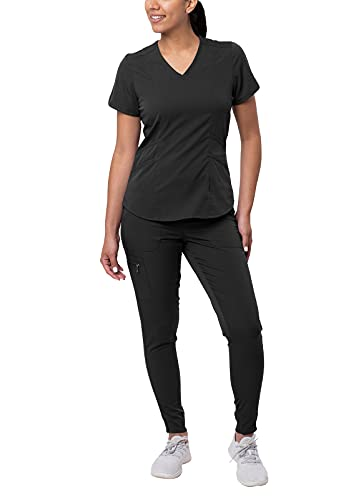 Adar Pro Modern Athletic Scrub Set for Women - Modern V-Neck Scrub Top & Yoga Jogger Scrub Pants - P9500 - Black - M
