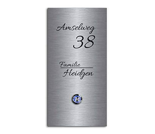 Edelstahl Türklingeln mit individueller Gravur - Klingel Größe: 13x26 cm und einem Premium LED Klingelknopf Taster | Klingelschilder optional mit schönen Acrylplatten | Gravierte Klingelplatte