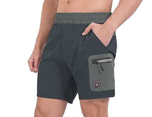 Little Donkey Andy Pantalones cortos de running para hombre, de secado rápido, elásticos para gimnasio, con bolsillos de corte láser y forro de carbono Heather L