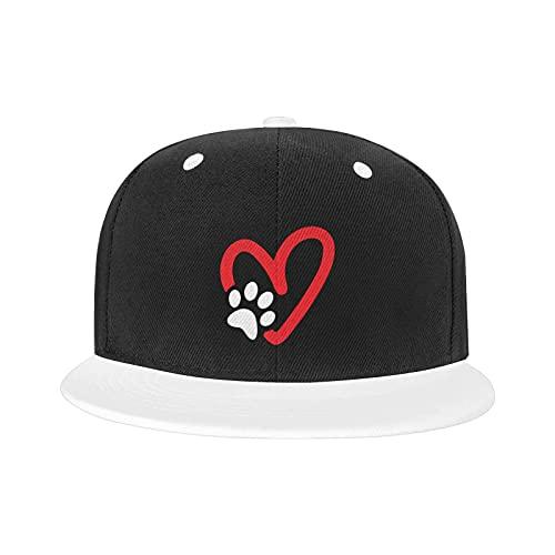 Paw Print Heart Dog Classic American Style Boutique Gorra de béisbol Unisex Imprimir As-Hip Hop Blanco El Snapback Sombreros, blanco, Talla única