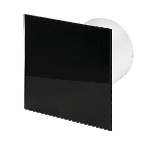 Badlüfter Wand-Ventilator Ø 100 Kugellager Silent Standard Trax Glas - Line System+ schwarz glänzend (schwarz glänzend)