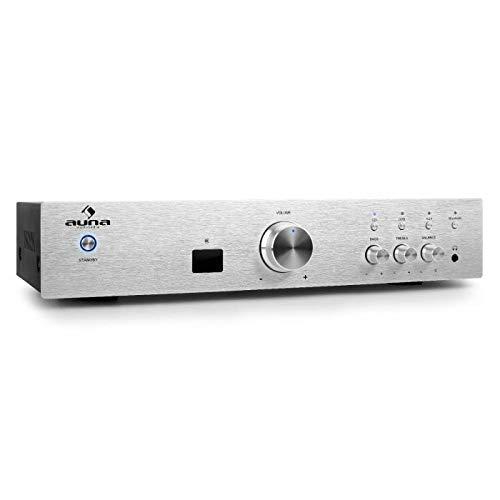AUNA AV2-CD508BT - Amplificatore HiFi, Home Cinema, Potenza Max 600 W, Bluetooth 3.0, Aux In, 3 Ingressi RCA Stereo, Telecomando, Pannello Frontale in Acciaio Inox, Argento