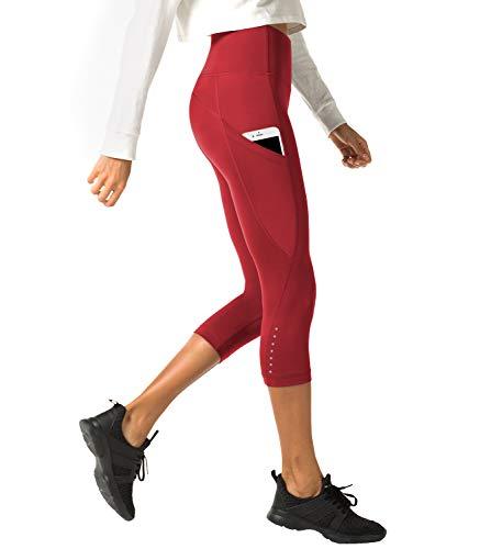 LAPASA Mallas Deportivas 3/4 Capris de Mujer Cintura Alta con Bolsillo (Leggings para Yoga, Pilates, Running) L02 (XS/34 (Cintura 58-66, Cadera 74-82 cm), Rojo Oscuro (Bolsillo Lateral))