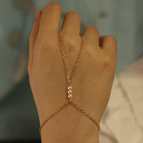 TseenYi Pulsera de dedo de perlas de plata, anillo de mano, pulsera de cadena de mano bohemio, pulsera de esclavo, cadena de mano, joyería para mujeres y niñas (dorado)