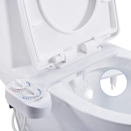Ketamyy Mechanische Bidet für Toilette, Nicht Elektrische Heiß Kalt-Doppeldüse Selbstreinigende Düse mit Druck Temperaturregelung Abnehmbarer Bideteinsatz WC Intimpflege Bidet mit Reinigungsfunktion