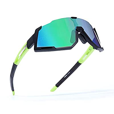 DOVAVA Polarized Sports Sunglasses UV400 Protection for Men and Women, TR90 Frame with 3 Interchangeable HD Clear Lenses, Green-Black