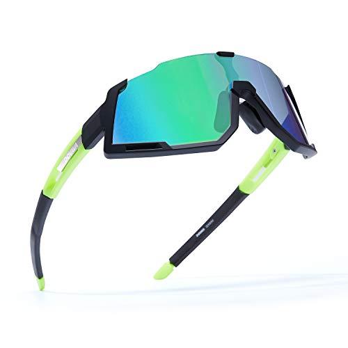 DOVAVA Fahrradbrille Herren Damen Sportbrille polarisiert, Sonnenbrille Fahrrad UV400-Schutz und Tr90 Superlight Frame,mit 3 wechselgläser (Grün)