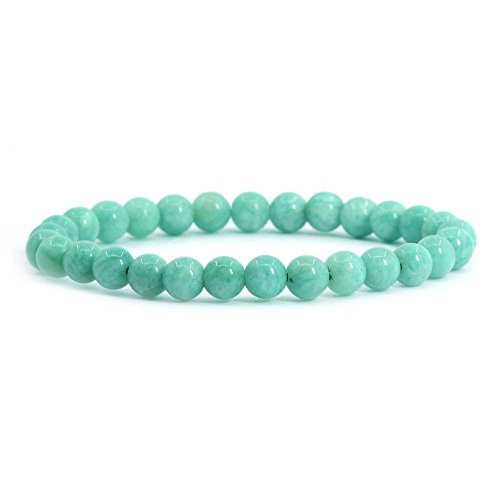 Justinstones Natural Brazilian Amazonite Gemstone 6mm Round Beads Stretch Bracelet 6.5' Unisex
