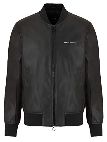 Armani Exchange A|X Herren Eco Leather Bomber Jacket with Front & Back Logo Kunstlederjacke, schwarz, XX-Large