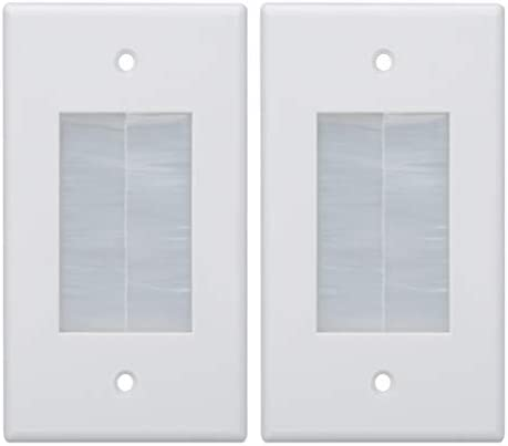Kebulldola Wall Cable Pass Through 2 Pack 1 Gang Brush Wall Plate for Low Voltage Cables and product image