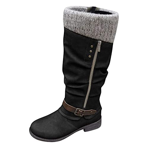 HUADUO Botas hasta la Rodilla Planas y holgadas - Botas hasta la Rodilla a Media Pierna para Mujer Suéter Hebillas de puños de Punto Bota de Montar con Suela de Goma