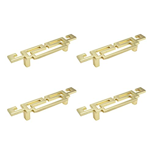 Quluxe 2-1/2 Inch Hole Centers Cabinet Pull Handles Antique Chinese Style Zinc Alloy Hardware for Furniture Dresser Drawer Cupboard- Gold (Pack of 4)