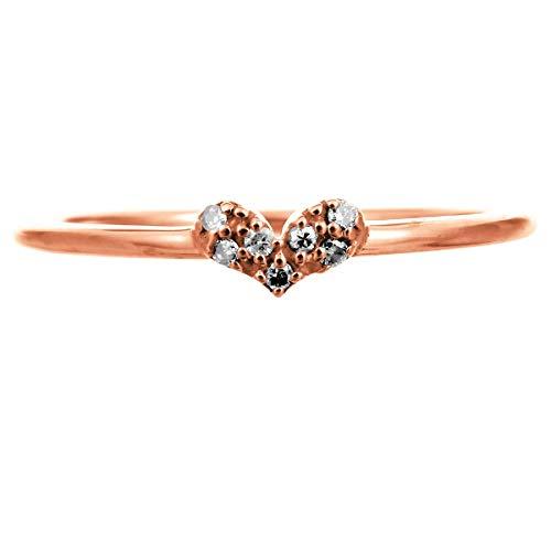 [ココカル]cococaru ハート リング 指輪 レディース ダイヤ ダイヤモンド 10金 10k K10 ゴールド イエローゴールド ピンクゴールド ホワイトゴールド ギフト 贈り物 記念日 プレゼント 日本製(ピンクゴールド 2)