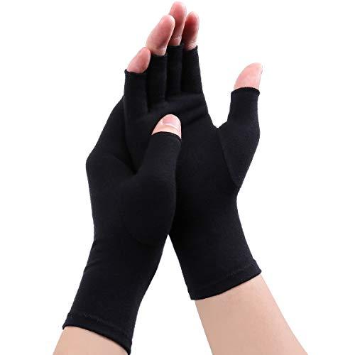 Arthritis Handschuhe - Kompression Arthritis Handschuhe Anti-Arthritis Handschuhe Rheumatische Arthritis Fingerlose Handschuhe für Schmerzlinderung die Blutzirkulation zu erhöhen (Schwarz A, L)