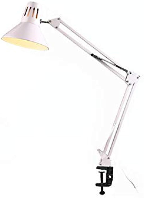 Eisenkunst- LED-lange Arm-faltende Schreibtisch-Lampen-Klipp-Bett-Studien-Tabellen-Lampe (Farbe   Wei)