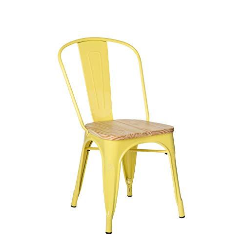 Silla amarilla de metal y madrea apilable para comedor o jardín