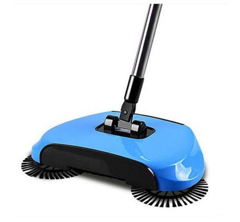 GAOSU Escoba Hand Push Sweepers Spinning Brush como Máquina Push Type Magic Broom 360 Dustpans Easy Vassoura Hard Floor para Lazy Cleaner, Blue