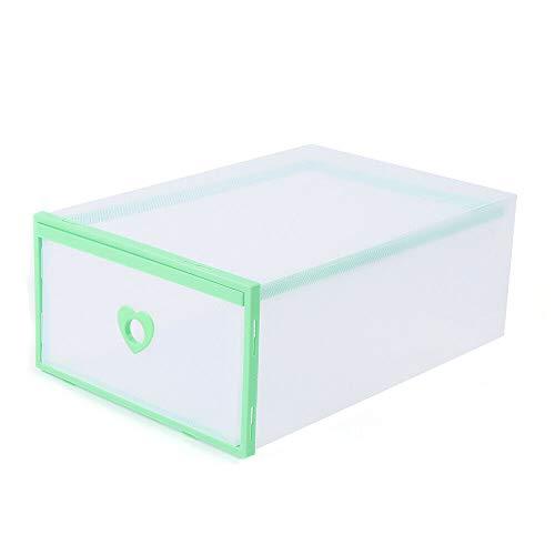 Cajas de zapatos de cartón, 20 unidades, para guardar zapatos, botas, zapatos y para guardar juguetes, material de plástico, protegen contra el polvo y la humedad (verde)