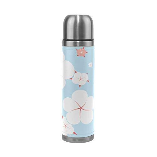 17 Oz Cotton Flowers Elegant Warm Design Travel Mug Child Stainless Steel Water Bottle Vaccume Insulated Mug Double-wall Insulation Best Insulated Mug