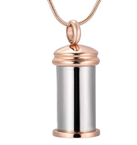 N / D Collar De Cremación Cremación de Botella cilíndrica de Acero Inoxidable para Cenizas, urna, Collar conmemorativo, Recuerdo, Colgantes, joyería
