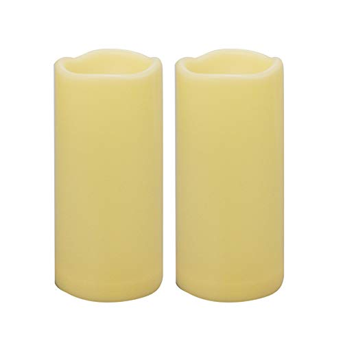"""2 Pack Waterproof Outdoor Flameless Candles with Timer 3"""" x 7"""" Battery Operated Electric LED Pillar Candle Set for Gift Home Décor Party Wedding Supplies Garden Halloween Christmas Decoration"""