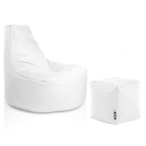 Patchhome Gamer Sessel inkl. Würfel Bean Bag Set Ø80cm, 30cm Sitzhöhe, 90cm Höhe + 35x35cm Würfel Weiß